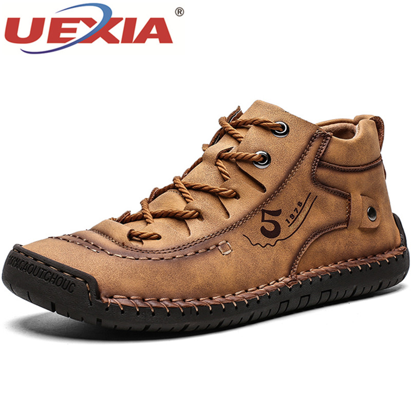 UEXIA Winter Men Ankle Boots Comfortable Thick Plush Warm Men Snow Boots Split Leather Autumn Outdoor Man Motorcycle Footwear