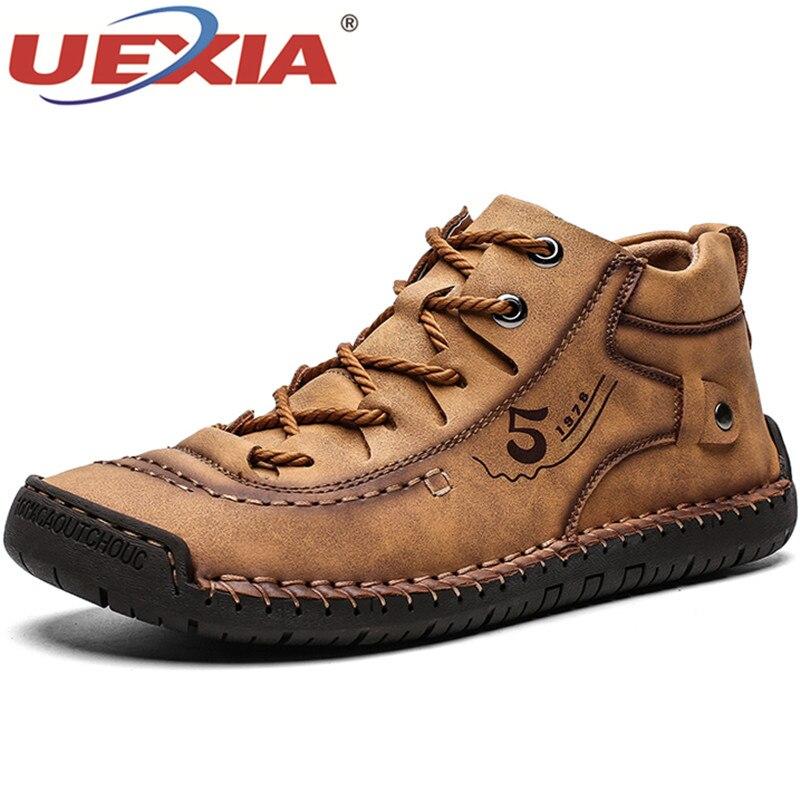 UEXIA zimowe męskie botki wygodne grube pluszowe ciepłe męskie śniegowe buty Split skóra jesień Outdoor Man motocyklowe obuwie