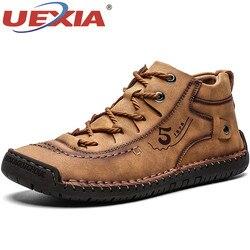 Uexia inverno homens ankle boots confortável grosso pelúcia quente botas de neve dividir couro outono ao ar livre homem calçado de motocicleta