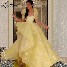 Żółte wysokie niskie suknie balowe kwadratowy dekolt z krótkimi rękawami suknia wieczorowa 2020 suknie na przyjęcia weselne Robe De Soiree sukienki wizytowe tanie tanio Lowime Plac collar Pociąg sweep Długość podłogi Prom dresses REGULAR Organza Kwiaty PATTERN Kwiatowy Print Naturalne