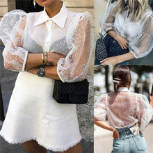 цены на High Street Vintage Women Sheer Mesh Lace Polka Dot Puff Sleeve Button Down Ladies See-through Top Shirt Blouse  в интернет-магазинах