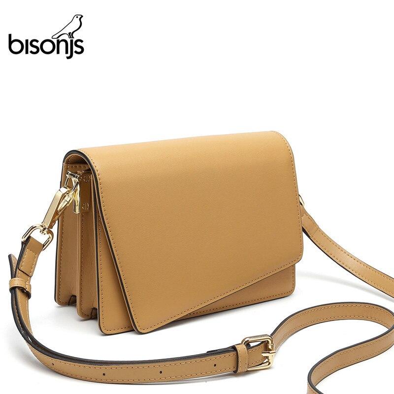 BISONJS Brand Fashion Women Shoulder Bag Cow Leather Ladies Bag  Satchel Women Messenger Bags Small Crossbody Bag B1631