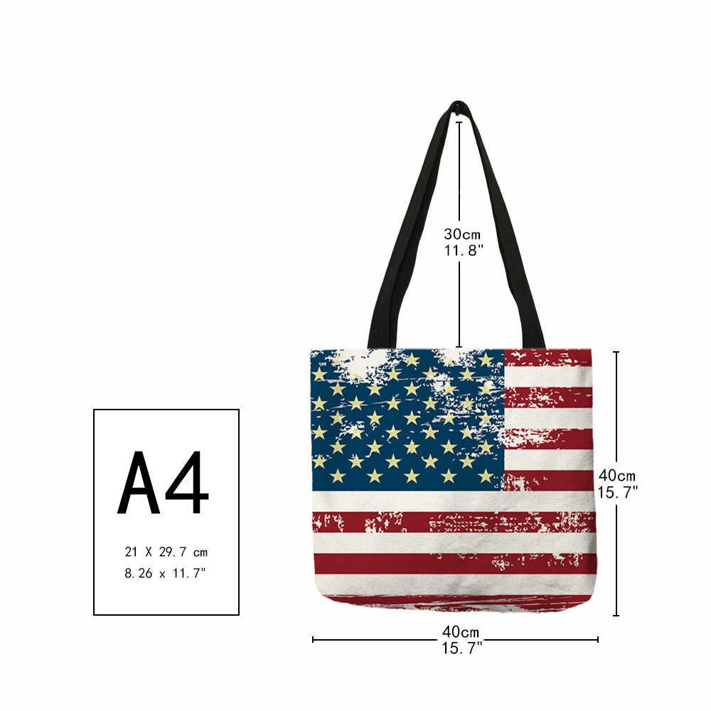 Сильная Персонализированная Высокая модная женская сумка с национальным флагом, льняная Наплечная Сумка, многоразовая сумка для покупок с короткими ручками