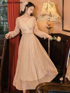 Расшитое пайетками элегантные платья для женская одежда с высокой талией, в винтажном стиле, на день рождения, вечерние платья-Макси платье с принтом «клубника» Женский Весна Vestidos