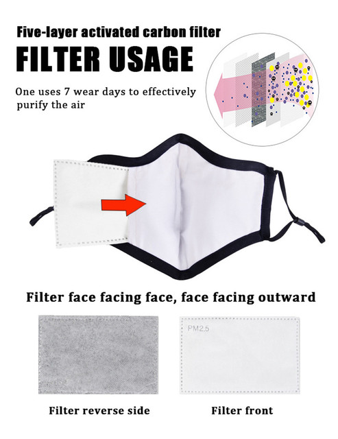 10Pcs/Lot 5 Layers PM2.5 Activated Carbon Filter Insert Protective Filter Insert for Adult Child Kids Anti Dust Face Mouth Masks 2