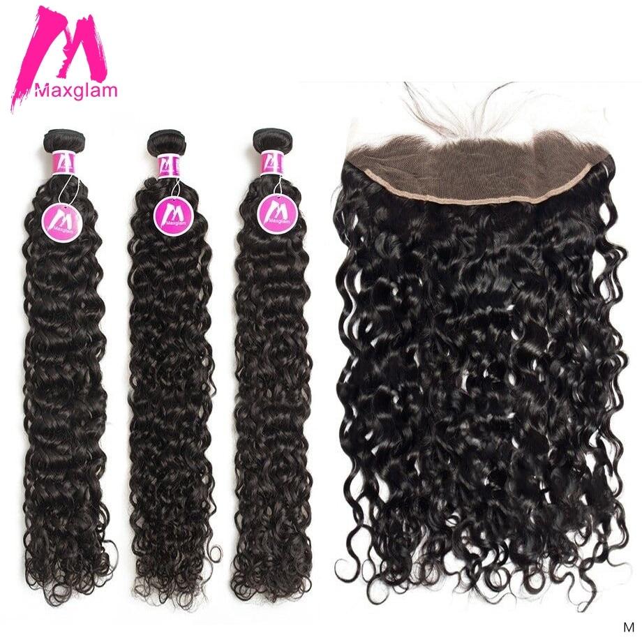 Su dalga İnsan saç paketler Frontal brezilyalı örgü uzun doğal demetleri ile Frontal siyah kadınlar için Remy saç uzatma