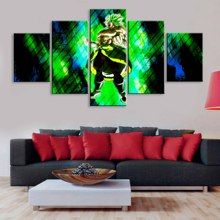 Art Poster Pictures Decoration HD Printing 5 Pieces Unstoppable Broly Canvas Painting Modular Modern Home Living Room Wall
