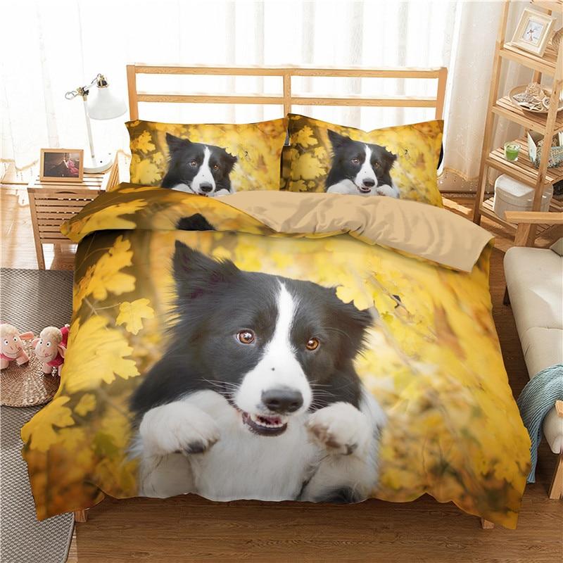 Animal Bedding Set 3D Border Collie Printed Duvet Cover Pillowcase Bedroom Bedspread Single Double Queen King Home Textiles