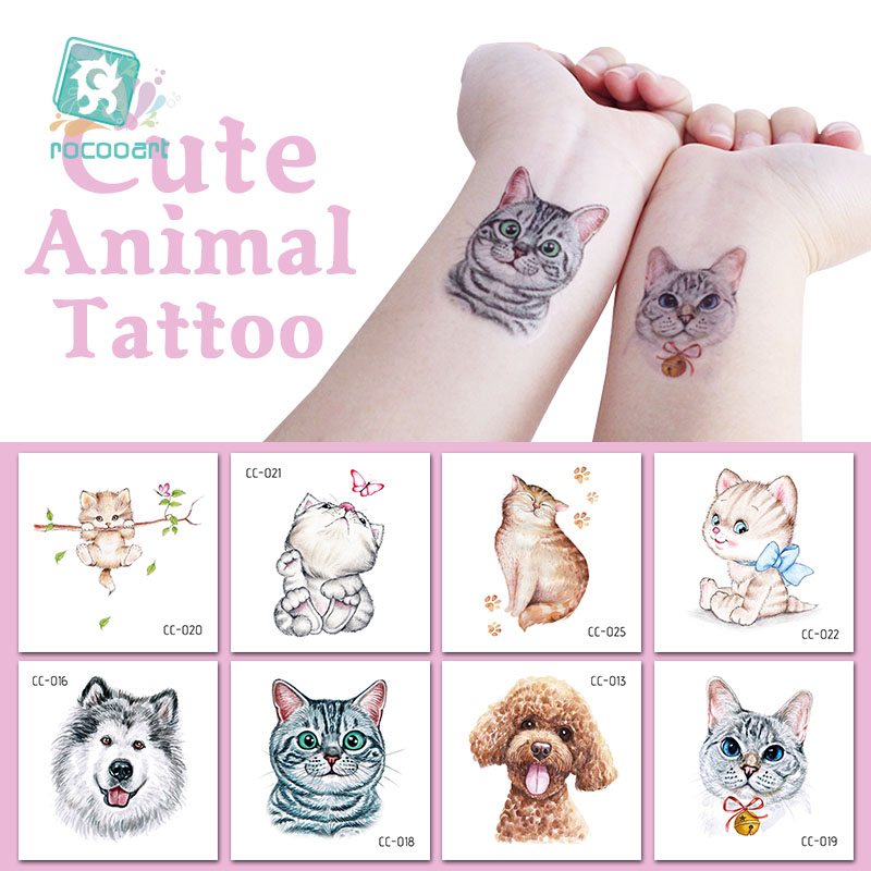 Rocooart Cartoon Animals Children Temporary Tattoo Sticker Small Waterproof Fashion Fake Body Art Tattoos Cute Dog Cat Taty