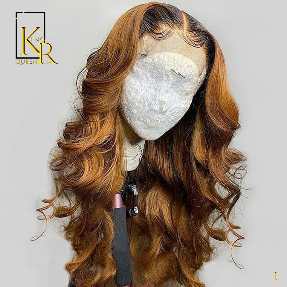 T1B 27 Ombre Color Loose Wave 13*4 Lace Front Human Hair Wigs 130% Density Remy Brazilian Pre Plucked Low Ratio Bleached