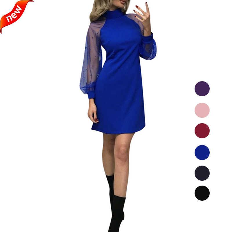 Wanita Gaun 2020 Musim Semi Fashion Wanita Lengan Panjang Mesh Formal Pesta Pernikahan Bola Prom Gaun Pendek Mini Gaun S M L XL XXL
