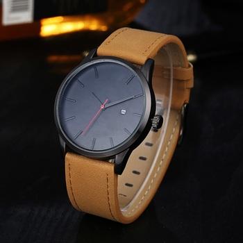 Zegarek męski sport minimalistyczne zegarki dla mężczyzn zegarki skórzany zegarek z paskiem Relojes erkek kol saati relogio masculino męski zegarek tanie i dobre opinie OLMECA Moda casual Skóra wdrażania wiadro Nie wodoodporne QUARTZ Wolfram stali 25 5cm Szkło 22mm ROUND Kwarcowe Zegarki Na Rękę