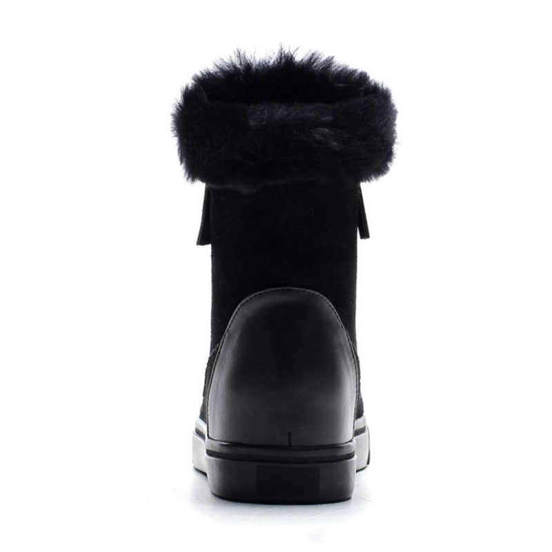 Krasovki genuines botas de neve couro genuíno de pelúcia sapatos de pele quente plataforma botas para as mulheres botas de inverno tornozelo sapatos quentes