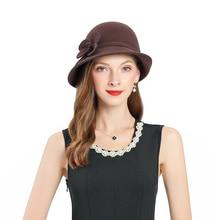 Fedoras Hat Brown Fascinator For Women Elegant Church Wool Headpiece Wedding Fashion Headwear Lady Party Formal Hair Accessories