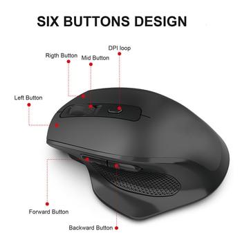 Jelly Comb-ratón inalámbrico para videojuegos, recargable, 2,4G, diseño ergonómico, 6 botones, silencioso, para portátil, Notebook, escritorio 2