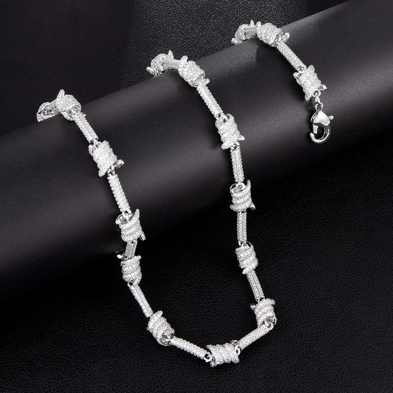 7MM glacé Bling AAA CZ cubique zircone spirale lien chaîne collier Bracelet pour hommes Hip Hop rappeur bijoux cuivre or argent - 4