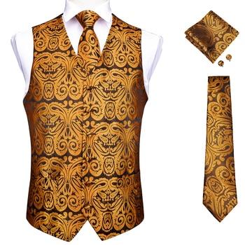 Vests For Men Slim Fit Mens Wedding Suit Vest Casual Sleeveless Formal Business Male Waistcoat Hanky Necktie Bow Tie Set DiBanGu 17