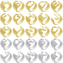 ZHUKOU NEW gold/silver color letter rings Punk chunky rings  A-Z Initials ring For Women/men Meaningful Jewelry wholesale VJ58