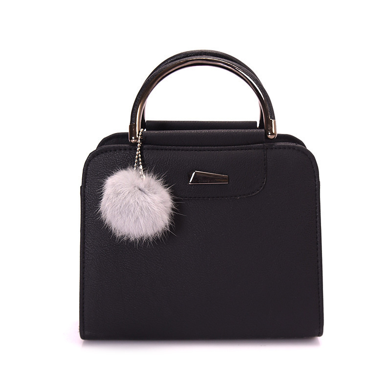 Women's Leather Handbags High Quality Luxury Lady Tote Shoulder Bags With Hairball 2019 New Fashion Wild Female Messenger