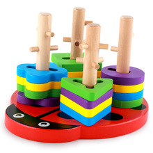 Montessori teaching aids wooden shape color to recognize toy building blocks children early teaching toys montessori toy baby educational wooden building blocks toy brown stairs teaching toys page 1