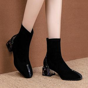 Image 5 - ALLBITEFO الكريستال كعب لينة جلد الغنم جلد طبيعي الانزلاق على النساء الأحذية موضة حذاء من الجلد موضة جديدة ربيع الخريف الأحذية