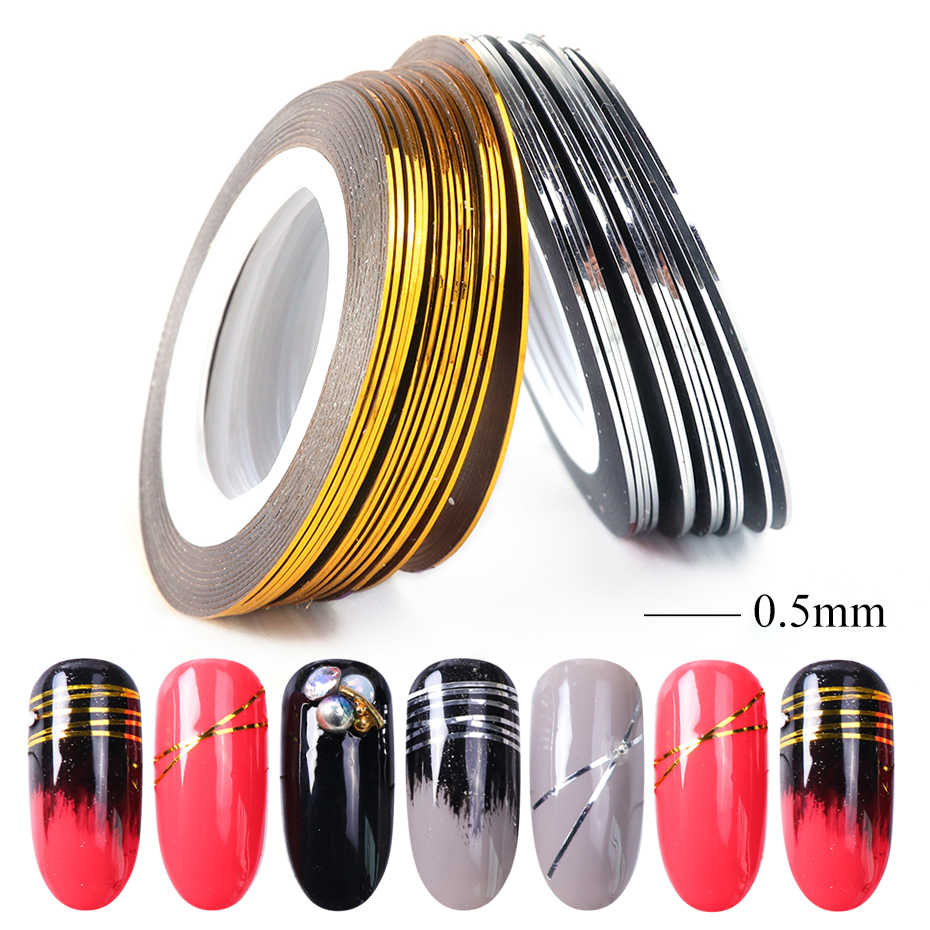 0.5mm Gold Silver Striping Sticker Holographic 3D Strips Liner Tape Adhesive Super Fine Nail Art Polish Decorations LY1009-1