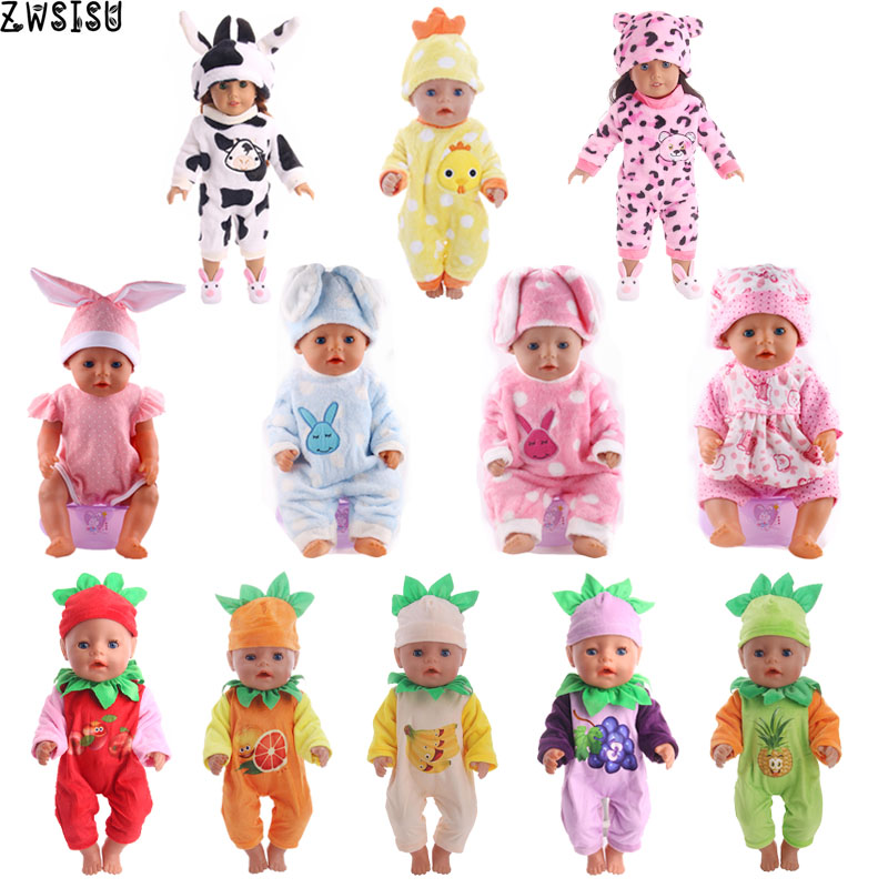Doll Clothes 15 Style Choose 1=Christmas Gift Doll Clothes Cute Pajamas Wear Fit 18 Inch American Doll & 43 Cm Born Doll Toy
