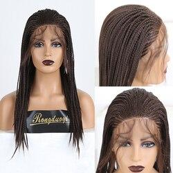 RONGDUOYI Средний коричневый волос синтетический парик фронта шнурка длинный плетеный ящик косички парики для женщин термостойкие волокна вол...