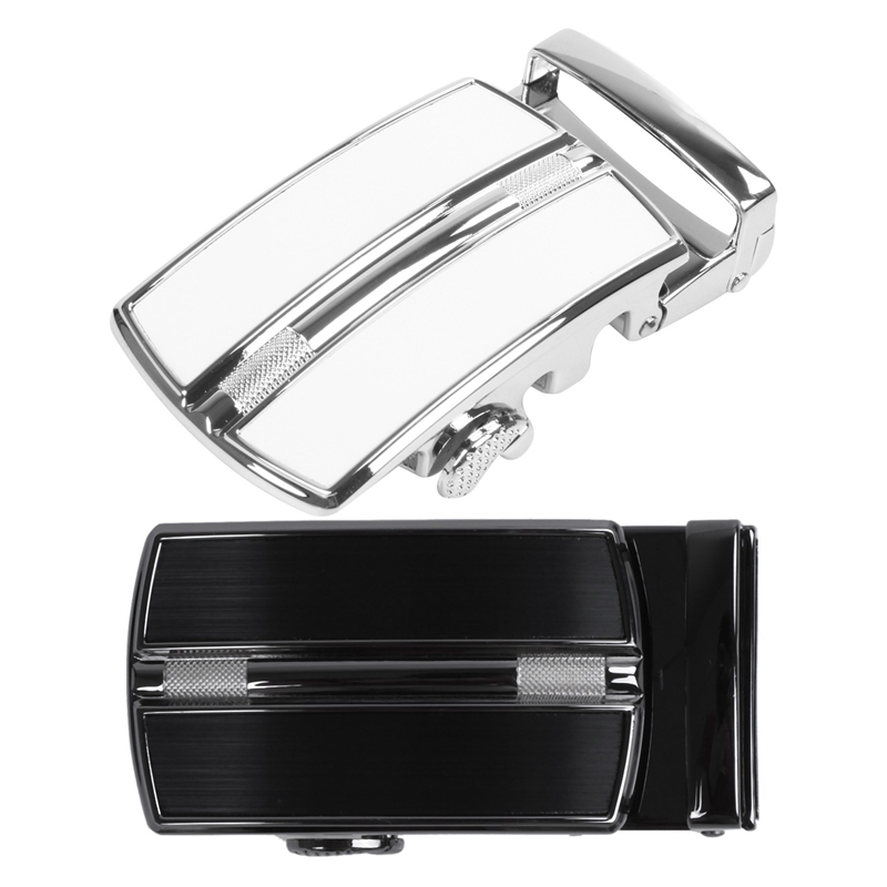 2 Pcs Men'S Solid Buckle Automatic Ratchet Leather Belt Buckle, Silver & Black + Silver