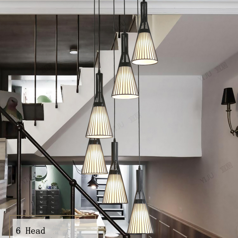 Nordic Duplex Building Living Room Chandelier Industrial Wind Simple Creative Stair Light Apartment Jump Layer Long Chandelier