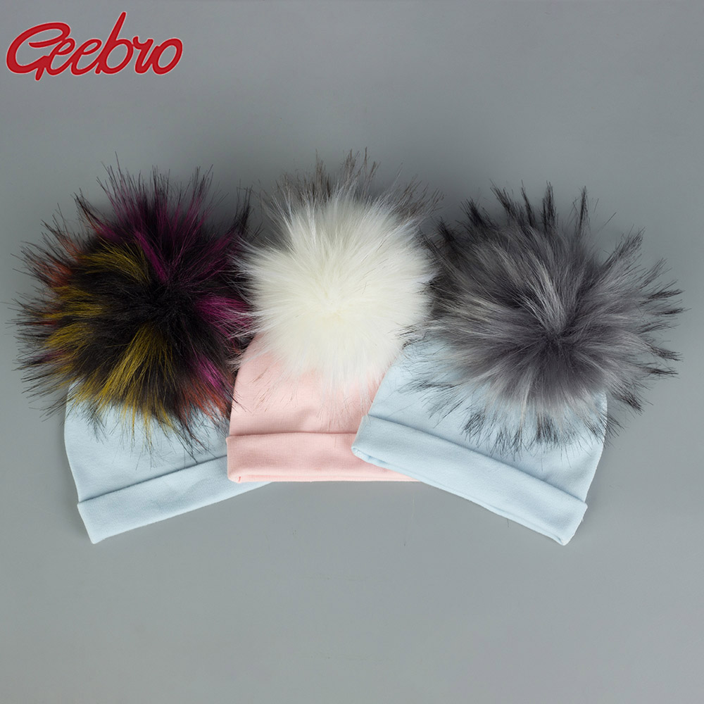 Geebro Newborn Baby Faux Raccoon Fur Pompom Beanie Hats Cotton Solid Hat For Baby Girls Boys Toddler Winter Children Hats Caps