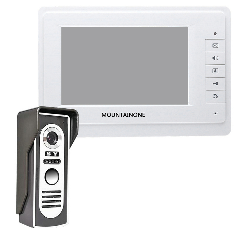 ABKT-Mountainone 7-Inch Display Cable Video Phone Doorbell Infrared Rainproof Wireless App Unlock Intercom System White +Black A