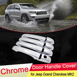 for Jeep Grand Cherokee 2011~2019 WK2 Chrome Door Handle Cover Trim Catch Set Car Styling Accessories 2012 2013 2014 2015 2016