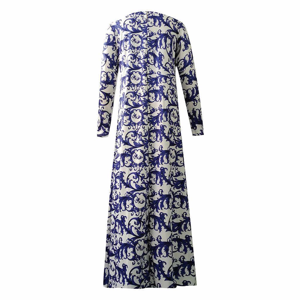 CHAMSGEND มุสลิมผู้หญิงแขนยาวดูไบ Maxi Abaya Jalabiya อิสลามเสื้อผ้า Robe Floral Print VINTAGE ชุด 19Sep03