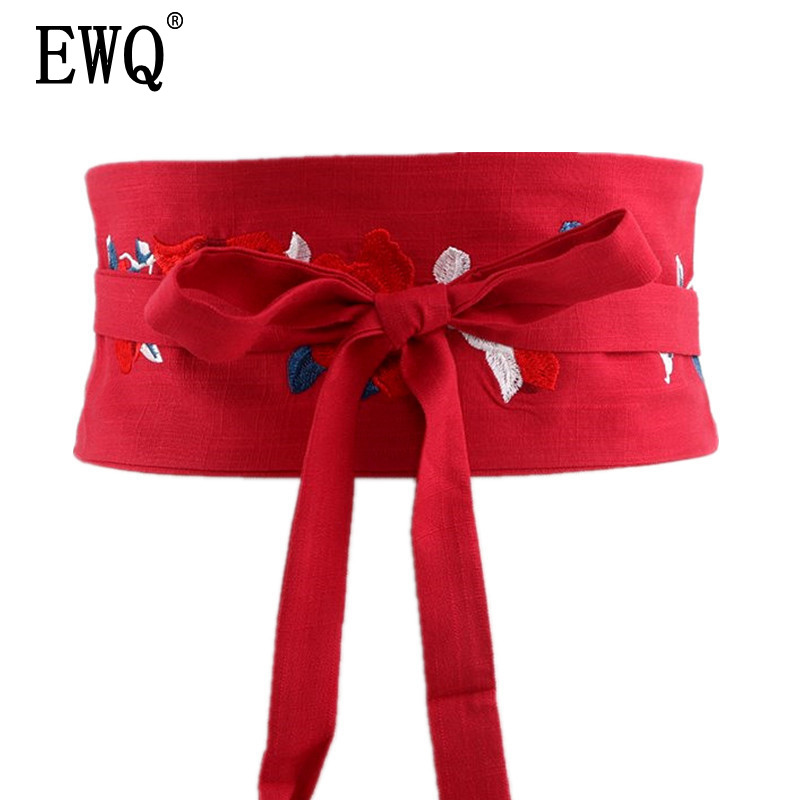 [EWQ] 2020 Spring New Vintage Embroidered Waistband Cloth Belt Decorative Bandage Girdle Women Wild Accessories 3 Color QH39103