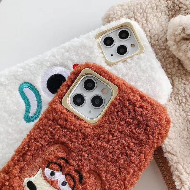 Plush 3D cute pet dog soft silicon cover case