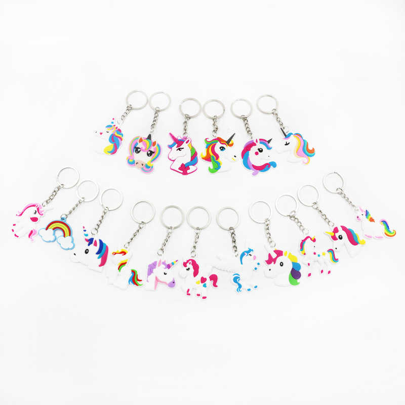 De moda bricolaje lindo cuento de hadas de PVC unicornio llavero de Multi-estilo caballo clave titular llave de aleación de cadena para mujer niñas regalo de la joyería