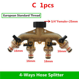 """Image 4 - Fast Shipping 1PC 3/4"""" 4 Way Brass Plastic Garden Hose Splitter Y Type Watering Connector Distributor For Outdoor Tap and Faucet"""