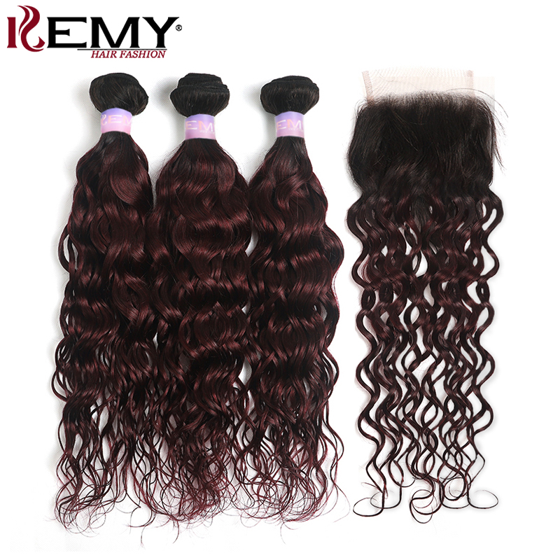 Water Wave Human Hair Bundles With Closure 4x4  Brazilian Ombre 1B/99J Burgundy Red Hair Weaving KEMY Non-Remy Hair Extension