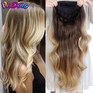 DinDong Synthetic Wigs 3/4 Half Wig Clip in Hair Extensions Blonde Brown For Women 24 inch 210G Premium Heat Resistant Hair(China)