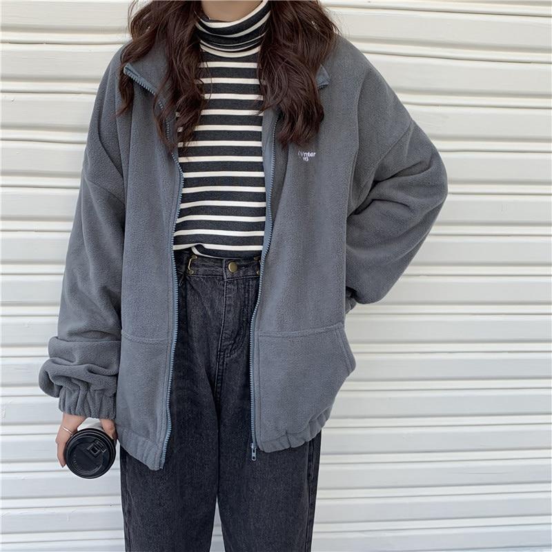 Zip-up Women Korean Style Hoodies Vintage Solid Color Long Sleeve Oversized Hooded Sweatshirt Lady Women Casual Large Coats 14