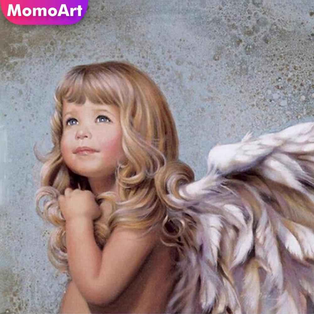 MomoArt Diamond Embroidery Angelhood Cross Stitch Full Square Painting Diy Angle Mosaic
