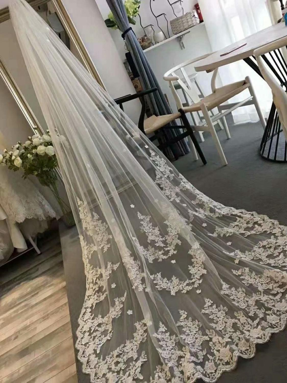 White/Ivory Real Photos Wedding Veil  With Comb  Bridal Veil Wedding Accessories Veu De Noiva EE52