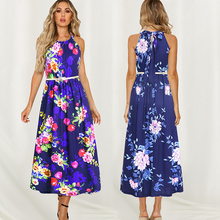 summer casual dress 2019 new fashion office floral maxi women belt sleeveless long beach vintage