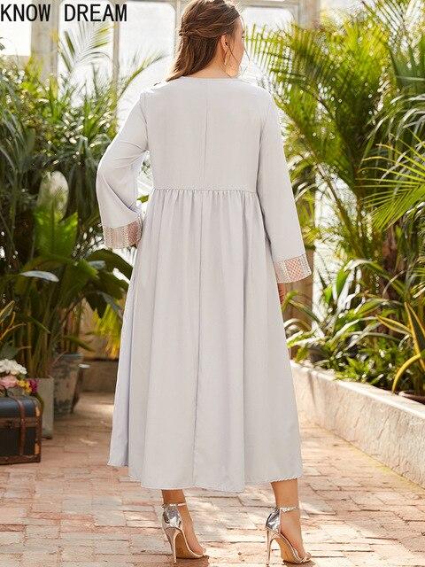 KNOW DREAM Dress Women Plus Size Women's Round Neck Long Sleeve Fashion Print Stitching Beads Waist Fashion Muslim Dress 3