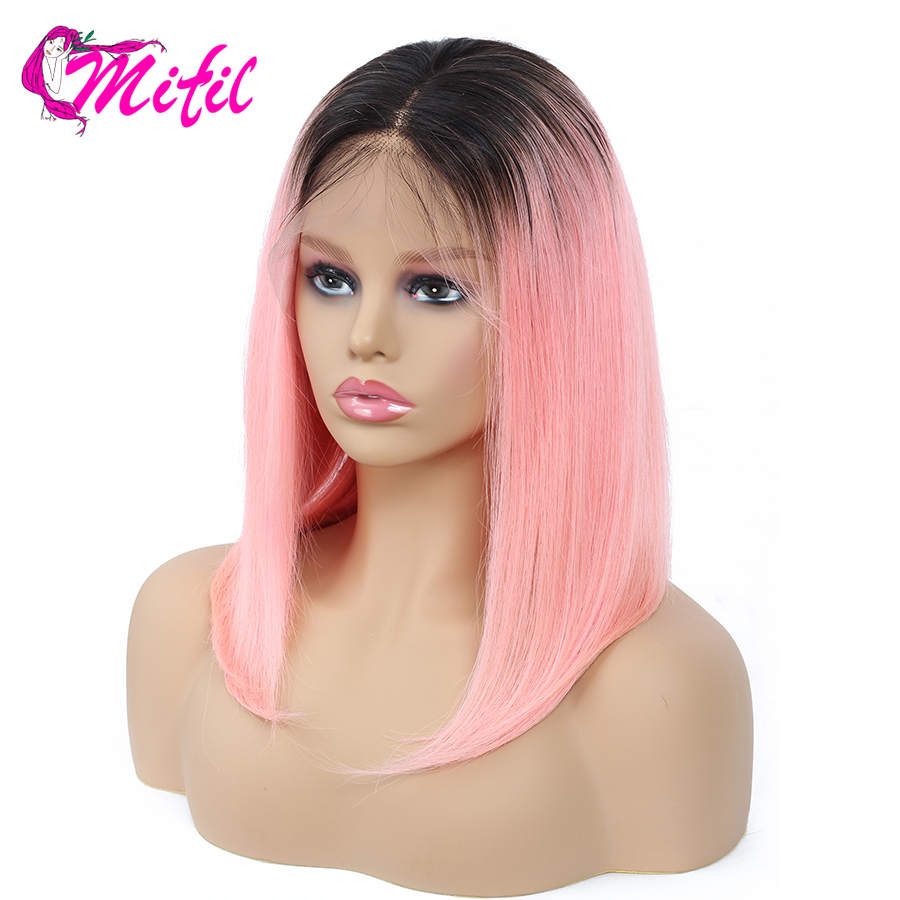 T1B/Blue/27 99J T1B/613 Pink Color Mifil Lace Front Human Hair Wigs Bob Wigs Indian Remy Short Lace Front Wigs-in Human Hair Lace Wigs from Hair Extensions & Wigs    1