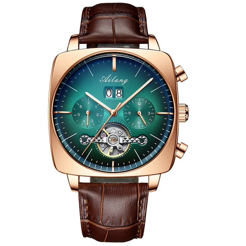 2021AILANG famous brand watch montre automatique luxe chronograph Square Large Dial Watch Hollow Waterproof mens fashion watches 6