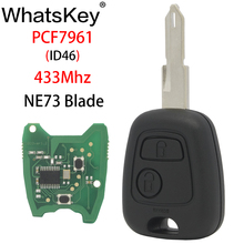 WhatsKey 2 Buttons Car Remote Key fit For Peugeot 206 Partner 433Mhz ID46 PCF7961Transponder chip Remote Control Key NE73 blade 433mhz 2 buttons remote car key with pcf7946 chip and ne73 blade fit for renault new