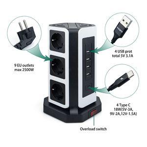 Image 2 - מגדל כוח רצועת אנכי Surge הגנה 9 דרך שקעי שקעי 4 USB טעינת נמל אחד סוג C 18W 2M הארכת כבל מרובה