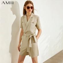 AMII Minimalist Women Jumpsuit Fashion Lapel Half Sleeve Solid Slim with Belt Elegant Female